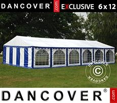 Tenda party 6x12m PVC, Blu/Bianco