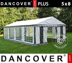 Tenda party PLUS 5x8m PE, Grigio/Bianco