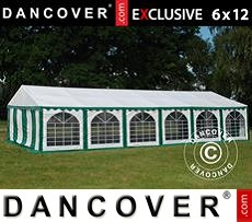 Tenda party 6x12m PVC, Verde/Bianco