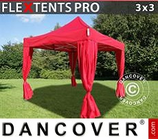 Tenda party 3x3m Rosso, incl. 4