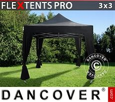 Tenda party 3x3m Nero, incl. 4