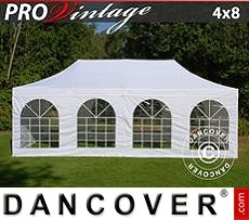 Tenda party 4x8m Bianco, incl. 6 fianchi