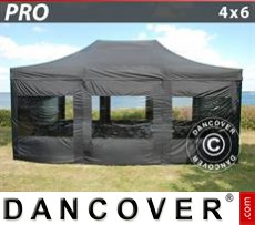 Tenda party 4x6m Nero, incl. 8 fianchi