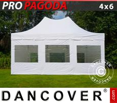 Tenda party 4x6m Bianco, incluso 8 pareti