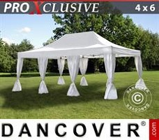 Tenda party 4x6m Bianco, incl. 8 tendaggi