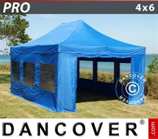 Tenda party 4x6m Blu, incl. 8 fianchi