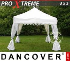 Tenda party 3x3m Bianco, incl. 4 tendaggi